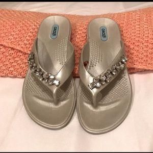 OKA b. Silver Rhinestone Gem Sandals
